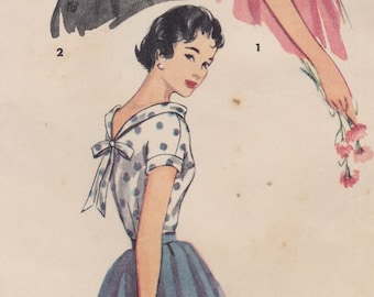 Simplicity 4645 / Vintage 1950s Sewing Pattern / Shirt Blouse Top / Size 12 Bust 30 / Unused