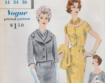 Vogue Special Design 4085 / Vintage 60s Sewing Pattern / Dress Jacket Suit  / Size 14 Bust 34