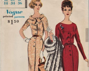 Vogue Special Design 4069 / Vintage 1950s Sewing Pattern / Dress / Size 14 Bust 34