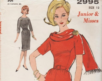 Advance 2995   Vintage 1960s Sewing Pattern   Dress And Scarf   Size 12 Bust  32 11d4e929a