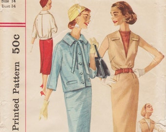 9a7c6dba06e3 Simplicity 1925   Vintage 1950s Sewing Pattern   Dress Jumper Jacket Suit    Size 14 Bust 34