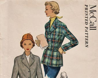 Vintage 50s Sewing Pattern / McCall 8400 / Tailored Jacket / Blazer / Size 16 Bust 34