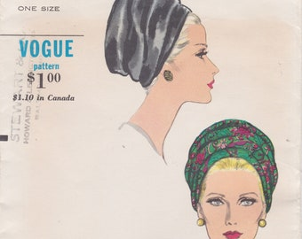 Vogue 7034 / Vintage 1960s Sewing Pattern / Hat Cap Millinery / One Size / Unused