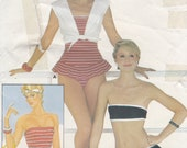 Butterick 4869 Vintage Sewing Pattern Swimsuit Bathing Suit Bikini Coverup Sizes 6 8 10 Unused