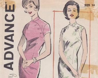 Advance 9860 / Vintage Sewing Pattern / Asian Style Sheath Dress / Size 14 Bust 34 / Unused