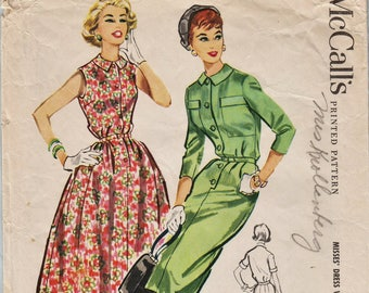 McCalls 4411 / Vintage 1950s Sewing Pattern / Dress / Size 14 Bust 34