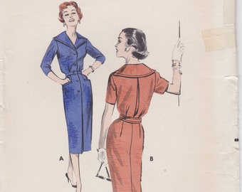 Butterick 8575 / Vintage 1950s sewing Pattern / Dress / Size 14 Bust 34 / Unused