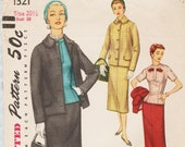 Simplicity 1321 Vintage 1950s Sewing Pattern Skirt Blouse Jacket Suit Bust 39