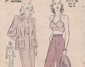 Advance 2940 / Vintage 1940s Sewing Pattern / Trousers Pants Shorts Halter Bra Top Shirt / Size 16 Bust 34