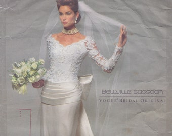 Vogue Bridal Original 2799 / Vintage Designer Sewing Pattern By Bellville Sassoon / Wedding Dress Gown / Sizes 8 10 12 / Unused