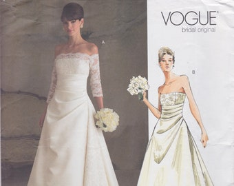 Vogue 2842 / Bridal Original Sewing Pattern / Strapless Wedding Dress Gown / Sizes 6 8 10 / Unused