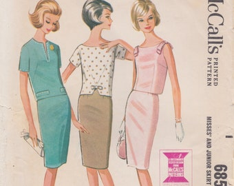 McCalls 6854 / Vintage Sewing Pattern / Skirt And Top / Suit / Size 14 Bust 34