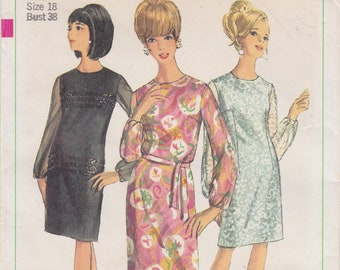 Simplicity 6843 / Vintage Sewing Pattern / Dress / Size 18 Bust 38 / Unused