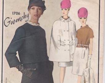 Vogue Paris Original 1706 / Vintage Designer Sewing Pattern By Givenchy / Cape Jacket dress / Size 14 Bust 34