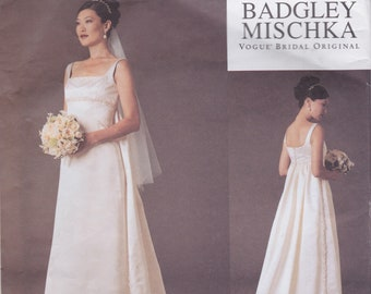 Designer Sewing Pattern By Badgley Mischka / Vogue 2626 / Empire Style Wedding Dress Bridal Gown / Sizes 6 8 10 / Unused