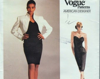 799c80ef93a5 Vogue 2050 / Vintage Designer Sewing Pattrn By Calvin Klein / Strapless  Dress And Jacket / Sizes 6 8 10