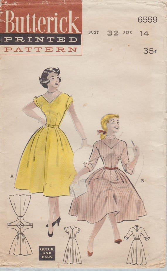 Schnittmuster Butterick 6559 / Vintage 50er Jahre / Kleid / | Etsy
