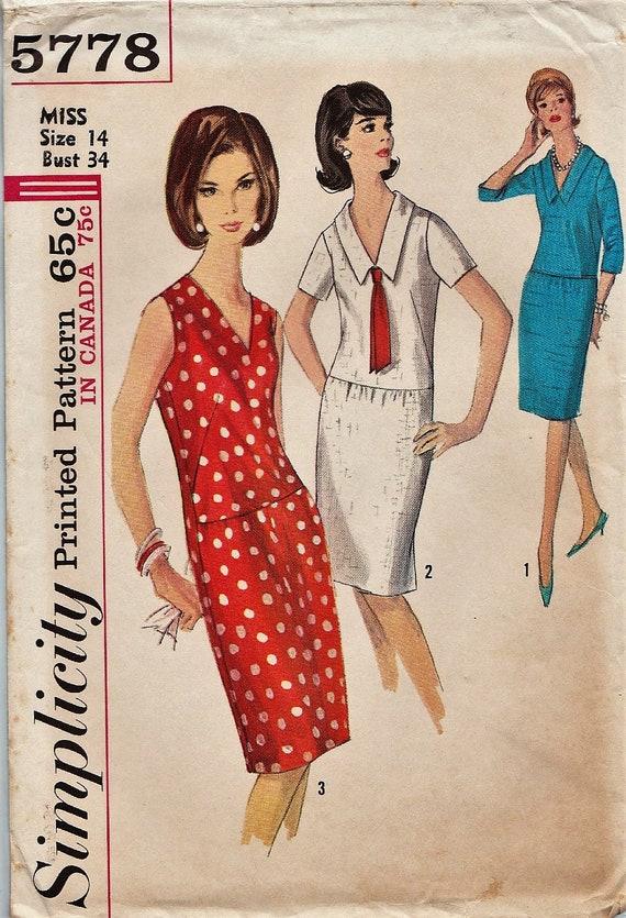Patrones de costura simplicidad 5778 / Vintage 60s / vestido   Etsy
