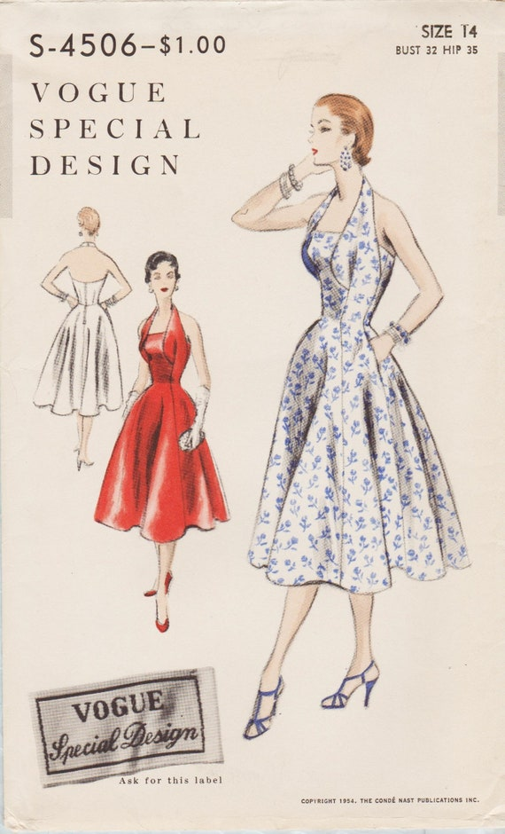 Vogue Special Design 4506  Vintage 1950s Sewing Pattern  Halter Dress  Size 14 Bust 32
