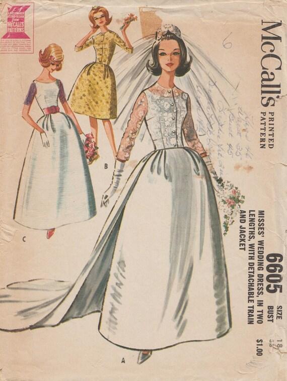 McCall 6605 / Vintage 60er Jahre Schnittmuster Brautkleid | Etsy