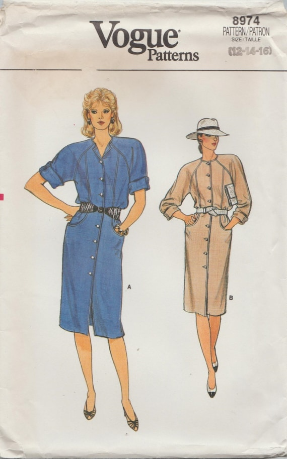 Vogue 8974 / Vintage Sewing Pattern / Raglan Sleeve Dress / | Etsy