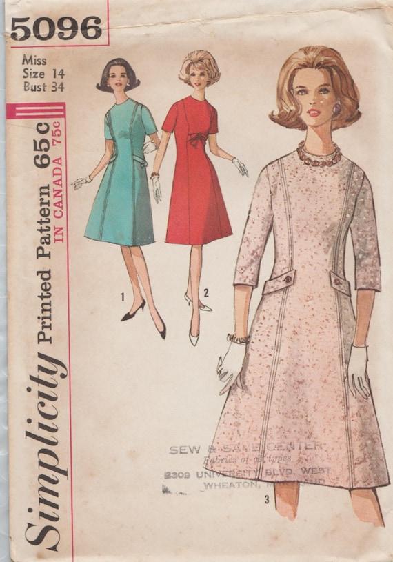 Einfachheit 5096 / Vintage 60er Jahre Schnittmuster / Kleid / | Etsy