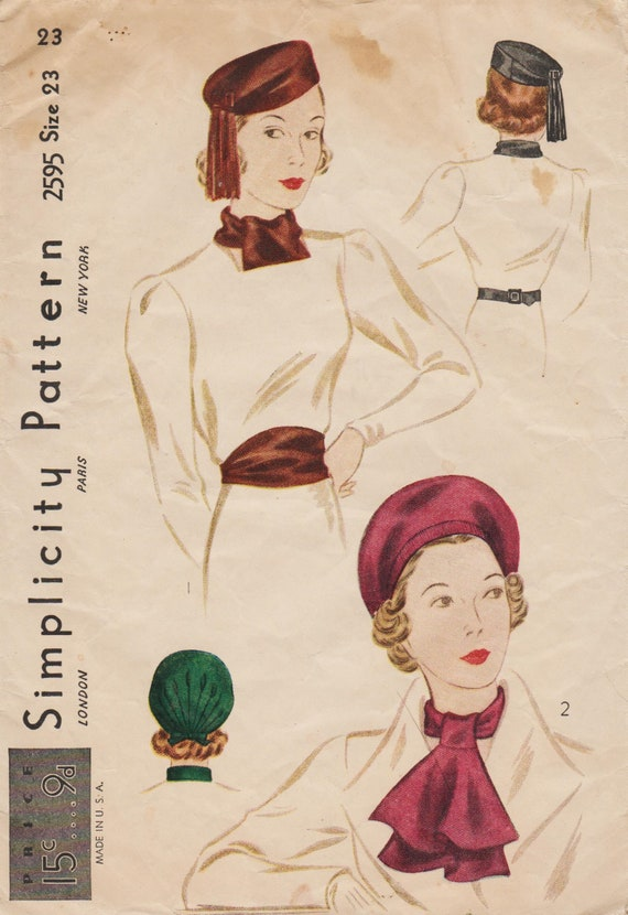 Simplicity 2595 / Vintage 1930s Sewing Pattern / Hat Cap Beret | Etsy