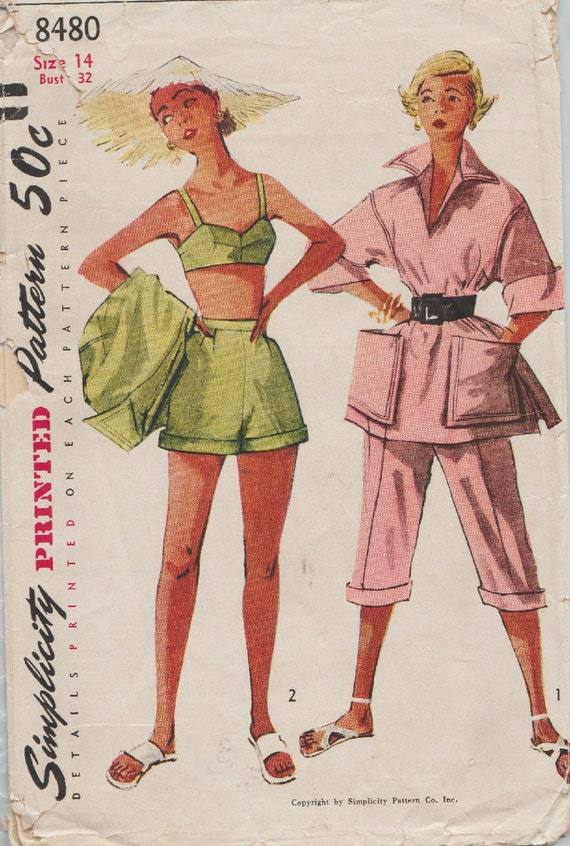 Simplicity 8480 / Vintage 50er Jahre Schnittmuster / BH Shorts | Etsy