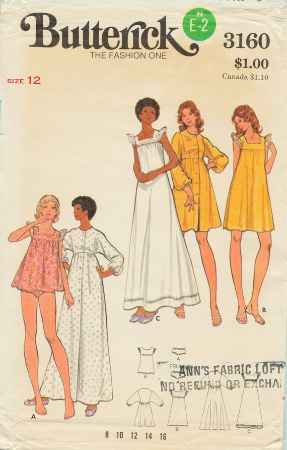 Butterick 3160 / Vintage Sewing Pattern / Gown Robe Panties | Etsy