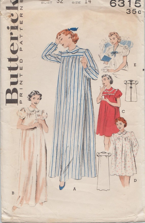Butterick 40 Vintage 40s Sewing Pattern Tie Back Etsy Enchanting Hospital Gown Pattern