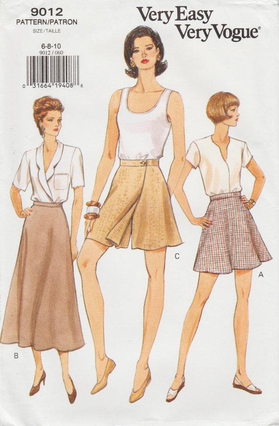 Sehr einfach Vogue 9012 / Vintage Schnittmuster / Hosenrock | Etsy