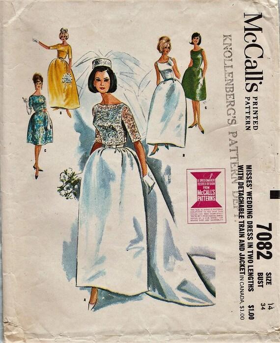 Vintage Bridal Gown Sewing Pattern / McCalls 7082 / Wedding