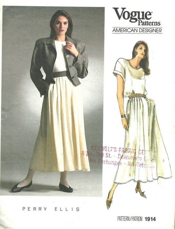 Vogue 1914 / Vintage Designer Sewing Pattern By Perry Ellis / | Etsy
