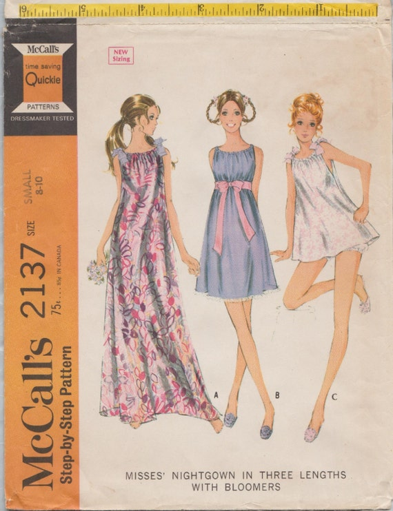 aaea7e31f2 Vintage 60s Sewing Pattern   McCalls 2137   Nightgown Gown