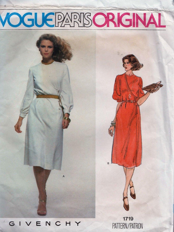 Vogue París 1719 / Vintage diseñador Original costura patrón | Etsy