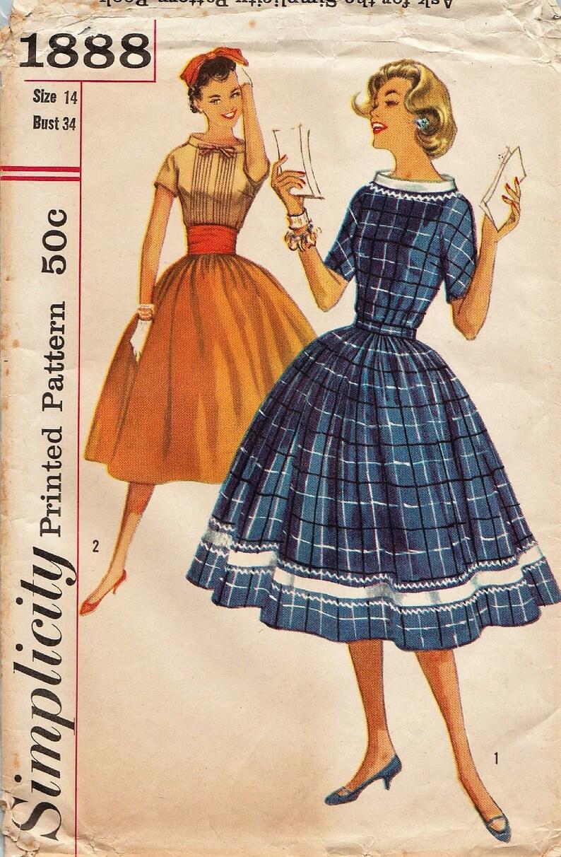 Semplicità 1888   Vintage anni 50 cartamodello gonna e  f6e8b243afc