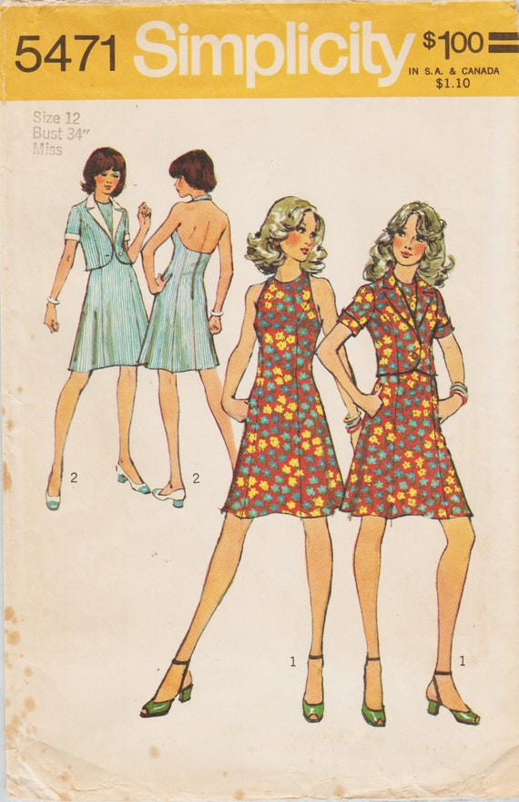 8687239a89ff4 Simplicity 5471   Vintage Sewing Pattern   Halter Dress And