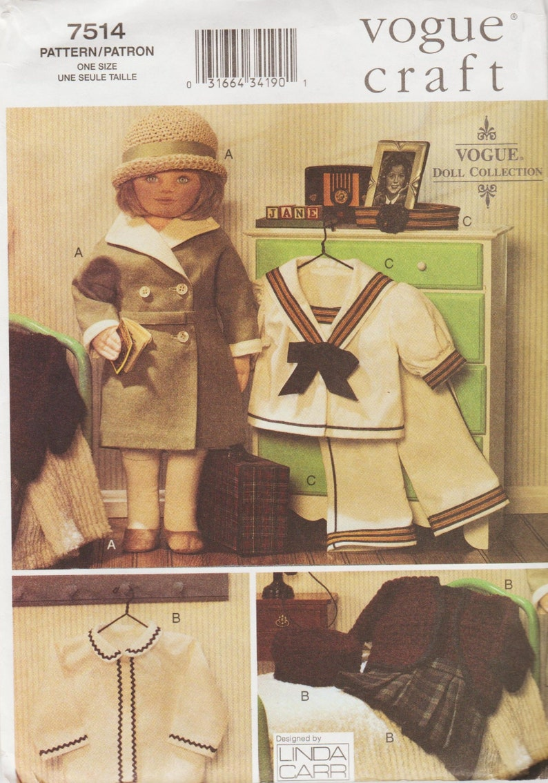 Vogue Craft 7514  Doll Collection Sewing Pattern By Linda Carr  1930s Wardrobe  18 Inch Doll Dress Coat Hat Shoes Sailor Suit
