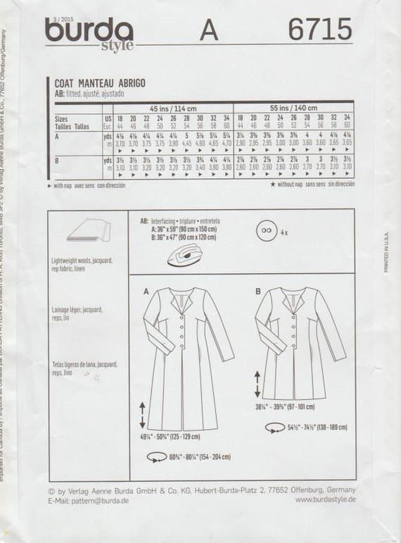 Patrón de Burda costura / 6715 / abrigo chaqueta Duster / | Etsy