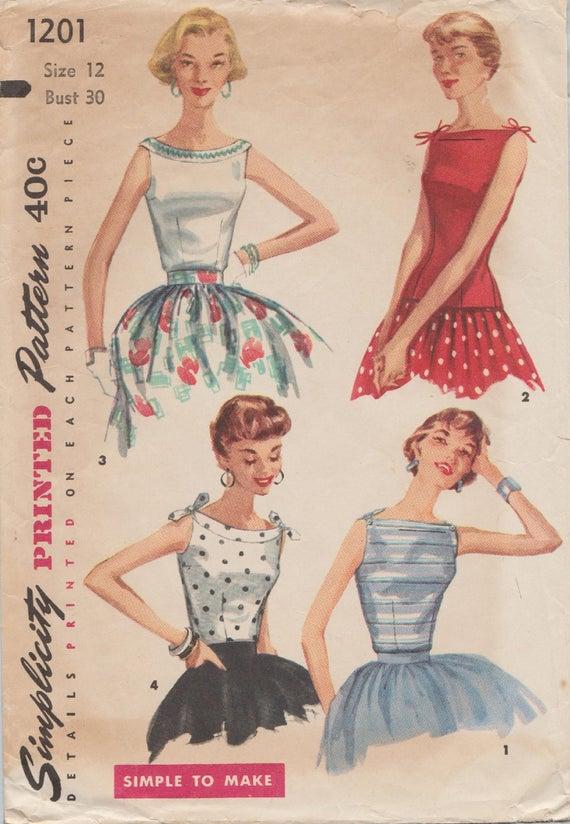 Vintage 50er Jahre Schnittmuster / Einfachheit 1201 / Bluse | Etsy