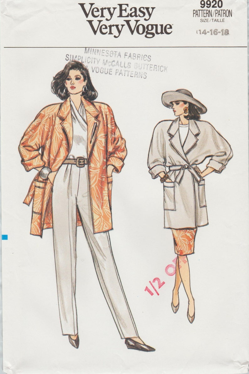 Very Easy Vogue 9920 Vintage Sewing Pattern Coat Jacket Etsy