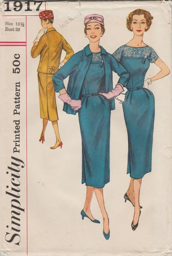 Patrones de costura simplicidad 1917 / Vintage años 50 /   Etsy