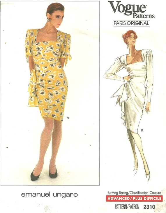 Vogue 2310 Paris Original Vintage Designer Sewing Pattern By | Etsy