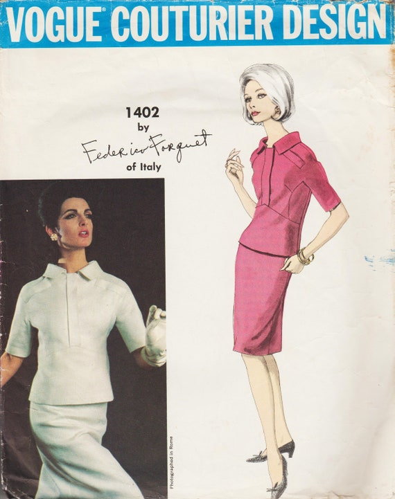 1960s Forquet 2-piece dress pattern feat. Mirella Petteni Haggiag - Vogue Couturier Design 1402