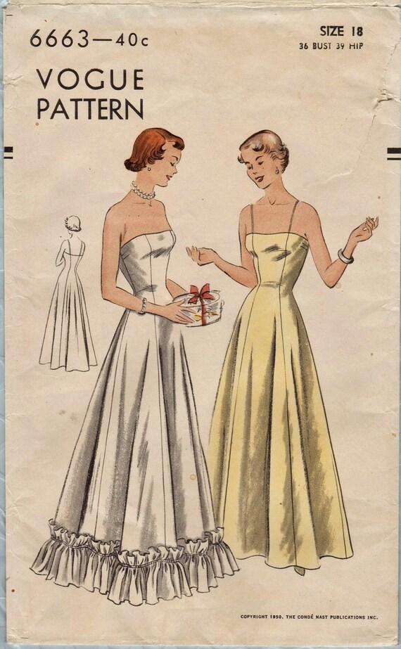 Vogue 6663 / Vintage 50er Jahre Nähen Muster / voller Länge   Etsy