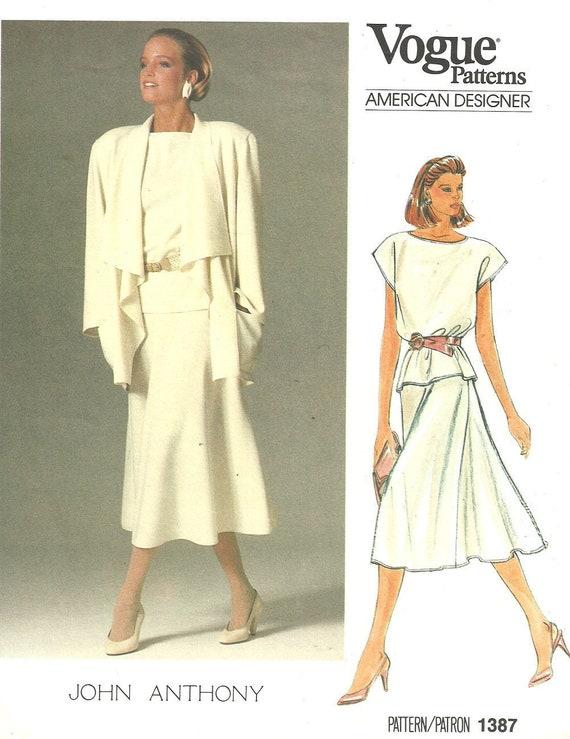 Vogue 1387 / Vintage Designer Sewing Pattern By John Anthony ...