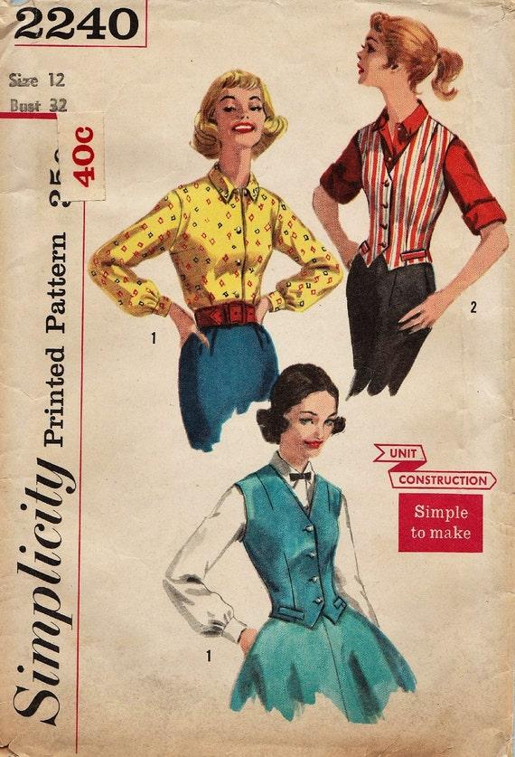 Einfachheit 2240 / Vintage 50er Jahre Schnittmuster / Bluse | Etsy