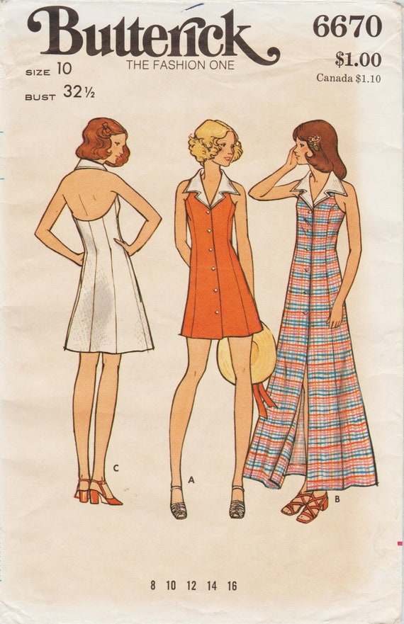 25a52d3cd3001 Butterick 6670   Vintage 1970s Sewing Pattern   Halter Dress