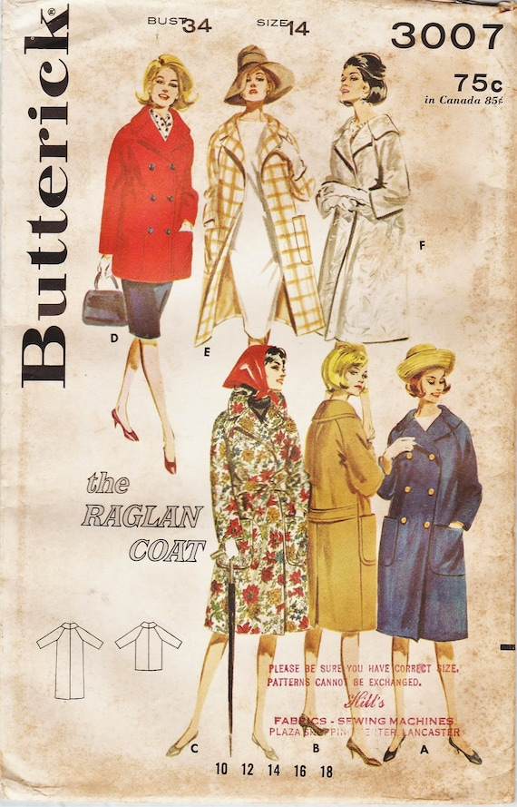 Butterick 3007 / Vintage 60s Sewing Pattern / Raglan Sleeve Coat Jacket / Size 14 Bust 34