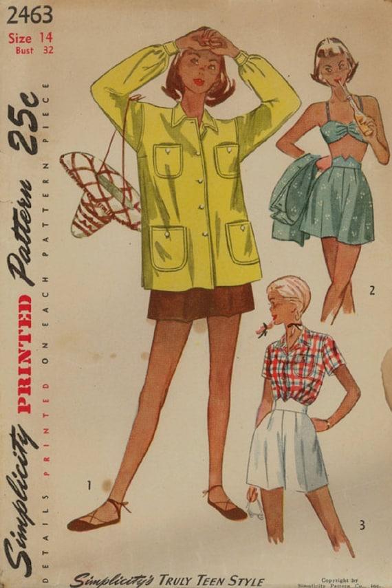 Einfachheit 2463 / Vintage 40er Jahre Schnittmuster / Shorts | Etsy